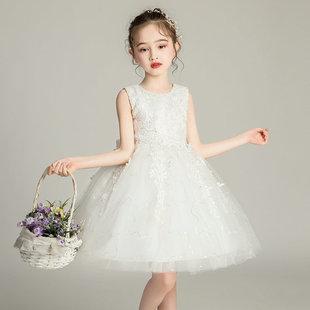 兒童粉色公主裙蓬蓬裙亮片大女童連衣裙白紗裙子幼兒舞蹈演出禮服