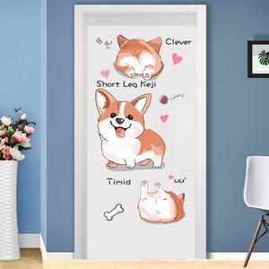 可爱卡通少女心柯基宠物店门贴宿舍卧室墙壁纸贴画墙贴纸墙纸自粘