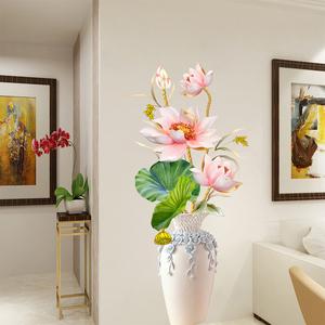 荷花贴画3d立体墙贴卧室客厅电视背景墙面装饰贴纸墙壁纸墙纸自粘