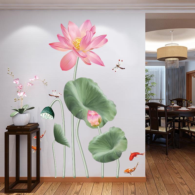 中国风小荷花3d立体墙贴纸莲花贴画书店客厅过道墙面装饰布置自粘
