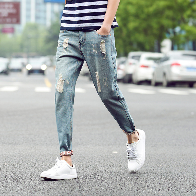 Spring and autumn broken hole flanging pants mens 2020 nine point jeans mens small feet Korean version of Harun pants