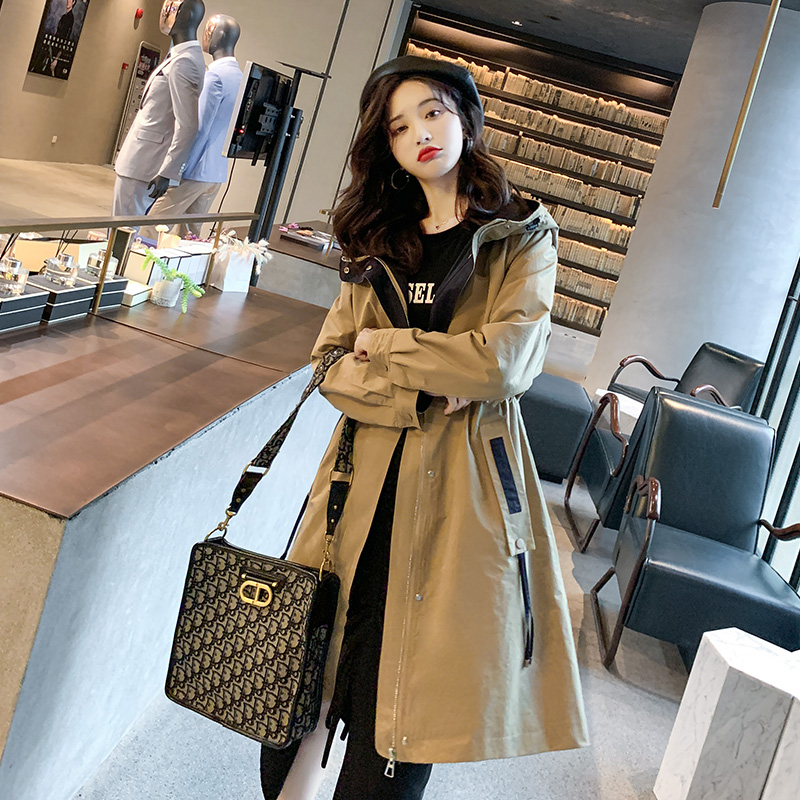 Spring and autumn 2020 new temperament coat womens middle and long hooded Korean version loose and thin