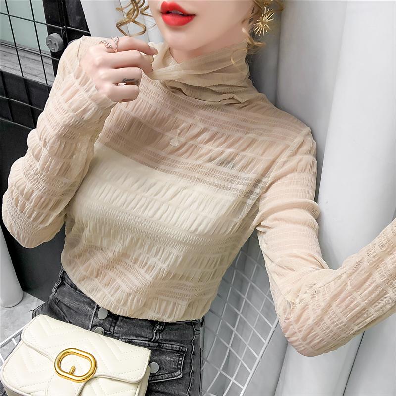 66277#秋冬洋气小衫女半高龄精致内搭蕾丝打底衫气质网纱上衣
