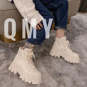 2020新款真皮松糕鞋厚底增高女短靴
