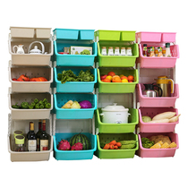 Kitchen shelf Landing multi-storey provincial space supplies household toy basket vegetable rack Storage basket Shelves