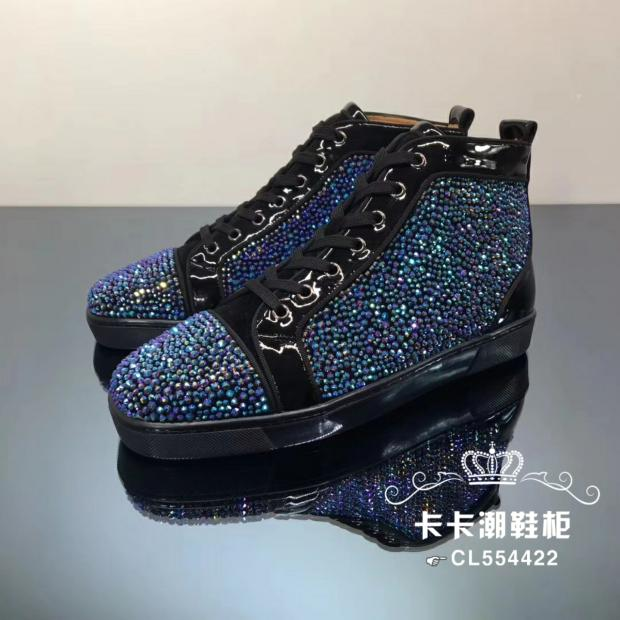 Lcn CL patent leather blue diamond high top mens shoes in spring and autumn of 2020