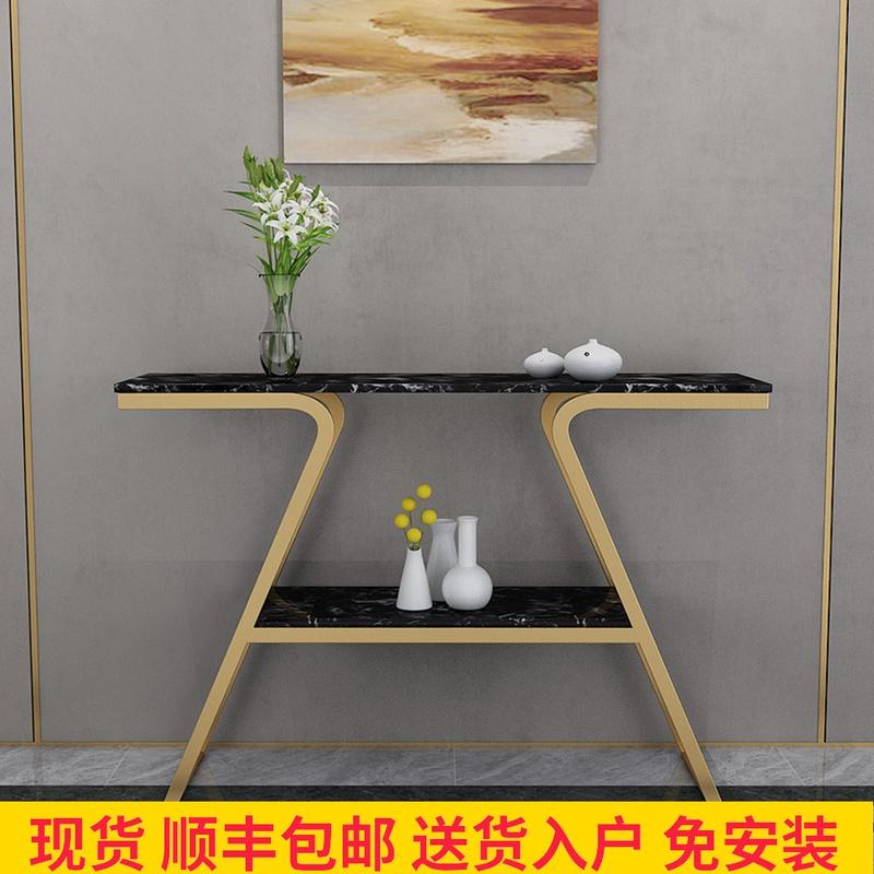 新中式轻奢大理石玄关桌客厅门厅铁艺玄关柜条案简约端景玄关台