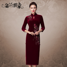 Minglan family spring and autumn golden velvet retro improved cheongsam female long wedding banquet mother dress dress
