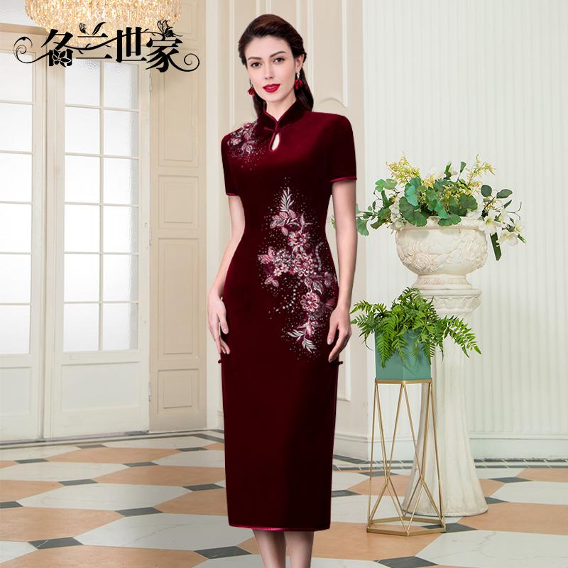 名兰世家新款中式婚庆妈妈婆婆旗袍礼服女改良版中长款红色连衣裙