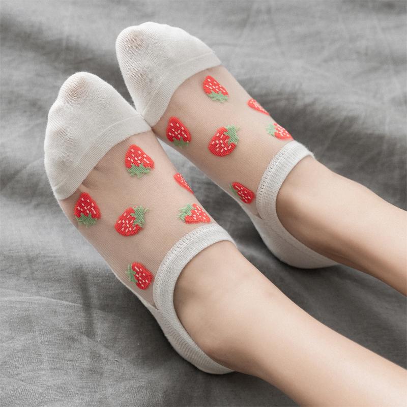 船袜女浅口韩版卡通可爱草莓水果袜子浅口隐形薄款棉底玻璃丝女袜