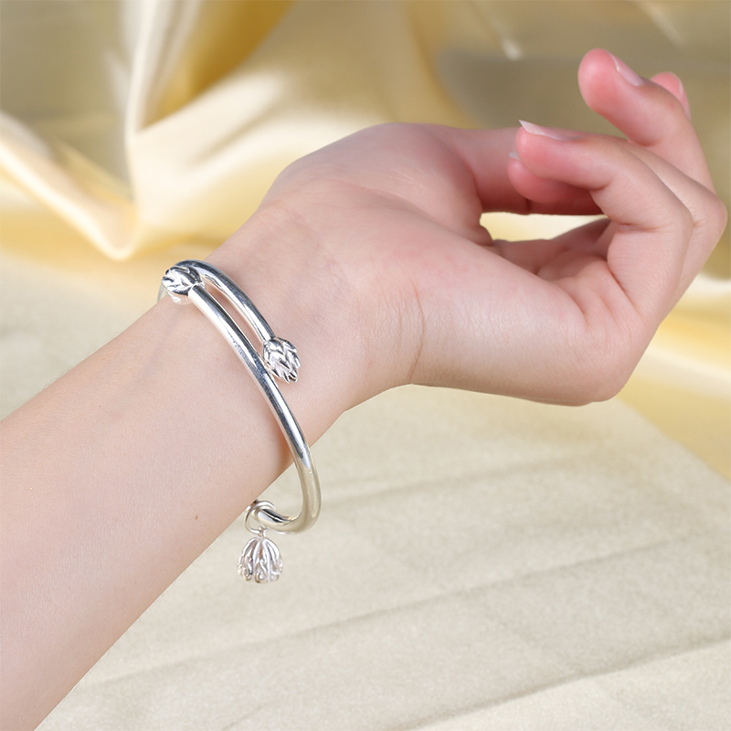 S999 lotus blossom Bracelet Sterling Silver Bracelet simple fashion silver bracelet for men and women solid open snowflake Silver Bracelet Anklet