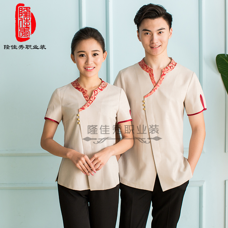 Original design of new Chinese style linen pure color hand collar high-end tooling customized Hotel Bath attendant work clothes