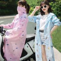 春夏骑车摩托车电动车防晒衣披肩防紫外线长袖长款罩衣服遮阳衫女