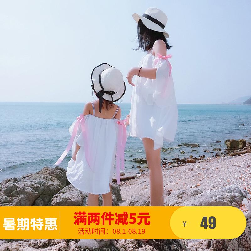 2018新款夏装母女装长裙亲子装连衣裙女童沙滩海边度假童装裙子