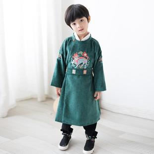 童裝男童2019年秋冬新款圓領漢服