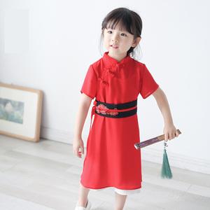 DY武侠系列童装女童连衣裙中小童儿童汉服中式短袖宝宝裙中长款