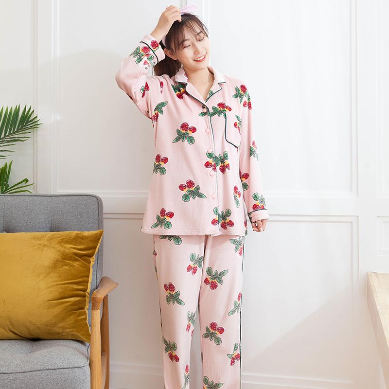 海岛绒睡衣冬季加厚加绒女长袖开衫两件套韩版可爱可外穿女家居服