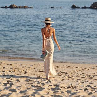 海邊度假拍照連衣裙 ins泰國三亞長裙 露背女性感沙灘裙 旅拍衣服