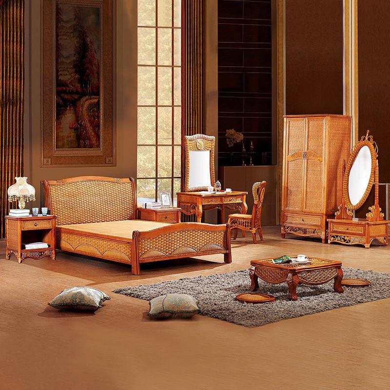 绿欣轩藤制卧室家具中式组合六件套