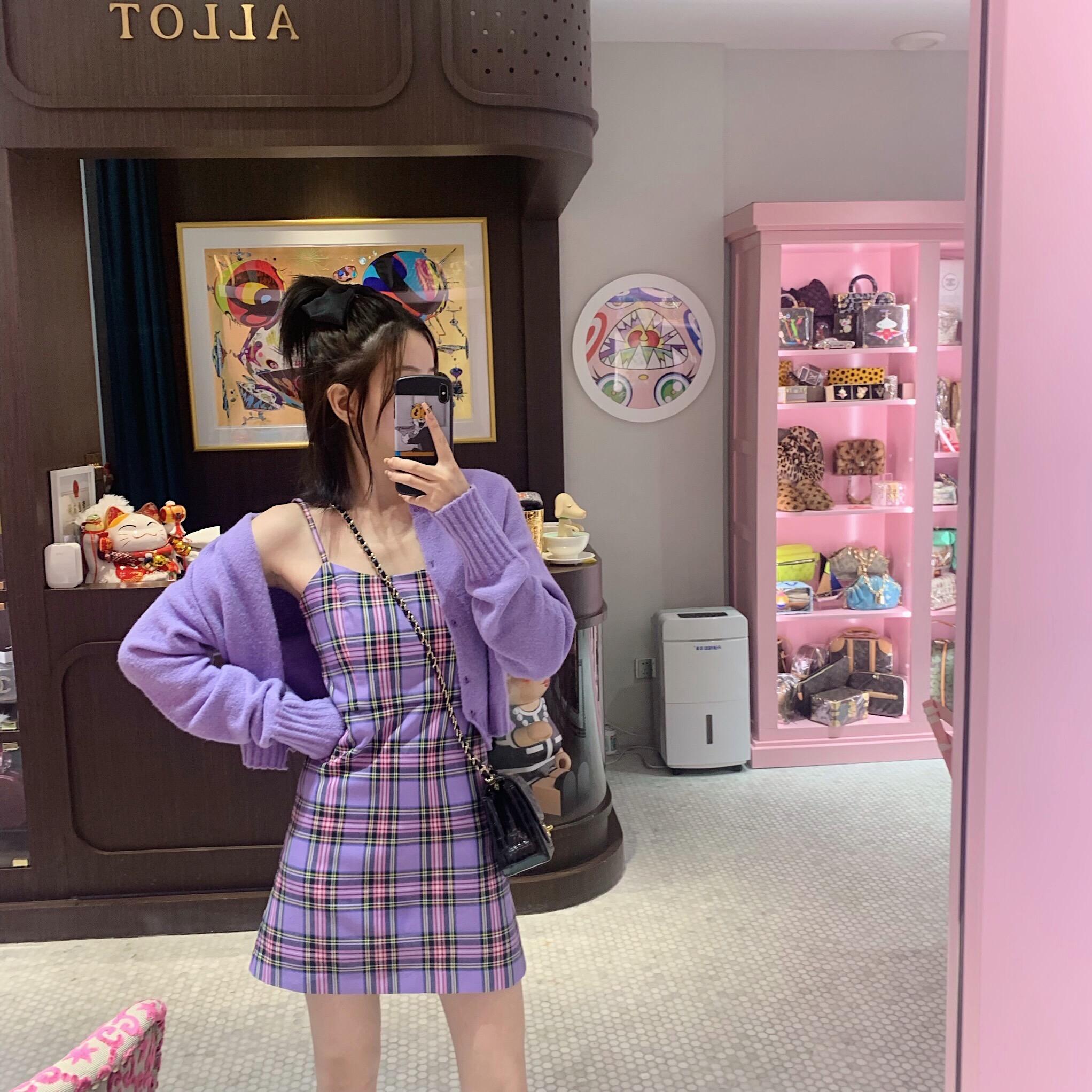 mungs 春夏紫色格子吊带裙女韩版百搭个性潮流打底外穿连衣裙短裙
