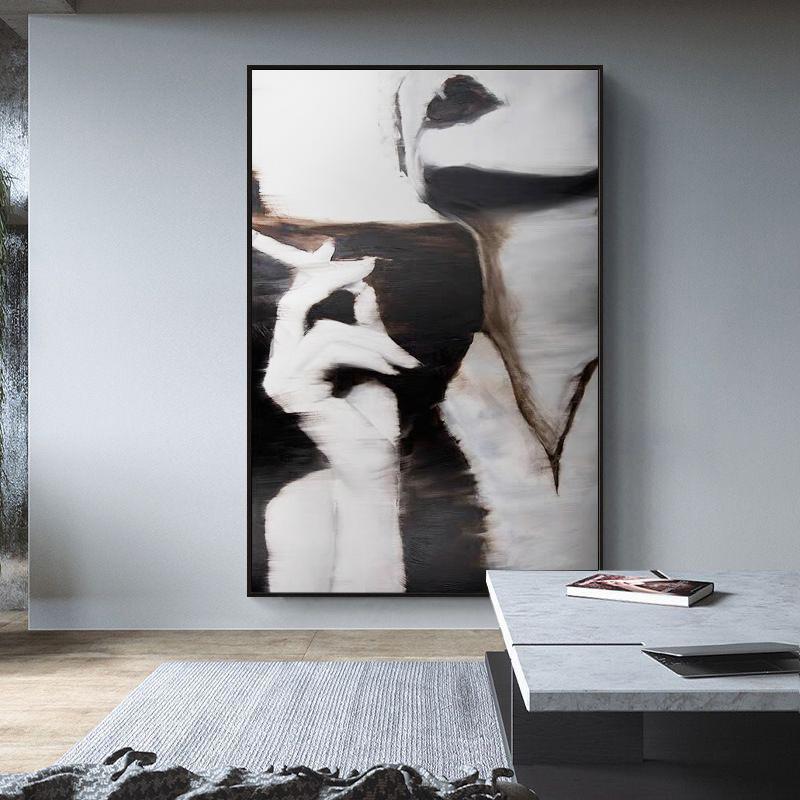 北歐黑白藝術畫客廳臥室裝飾畫文藝美女抽煙創意抽象人物無框掛畫