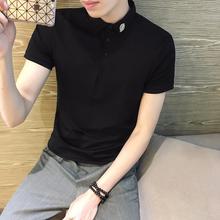 韩版polo衫短袖男 青年半袖简约修身滑料潮牌t恤冰丝翻领潮流带领