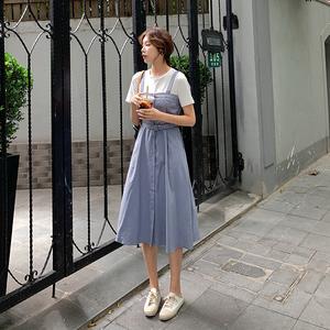 接吊带连衣裙夏季新款修身显瘦气质配腰带AYBDJY P105