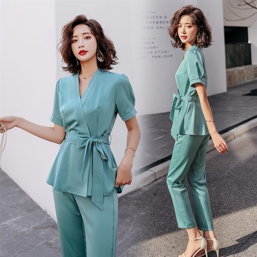 时尚修身百搭优雅纯色简约舒适系带二件套DIYXJY P155