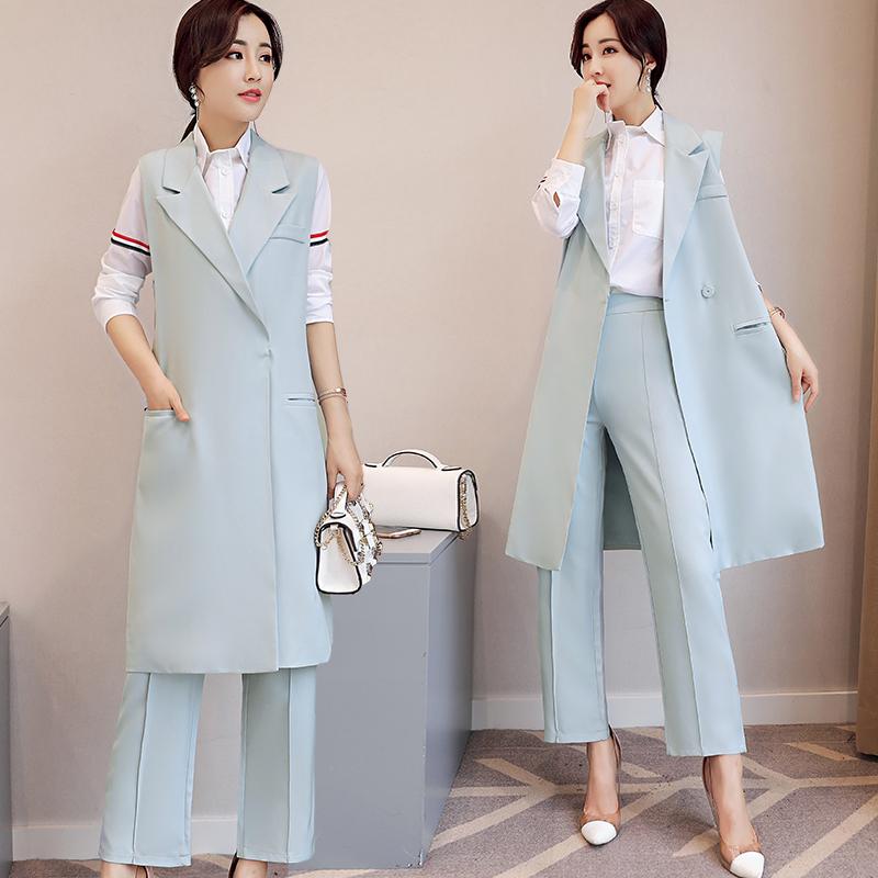 无袖中长款甜美优雅纯色马甲+九分裤两件套KDYBDB P95