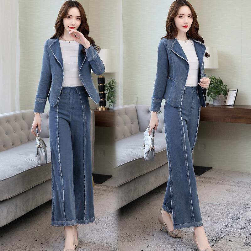 秋装女装套装职业OL牛仔套装短外套裤子ALTWXY P165