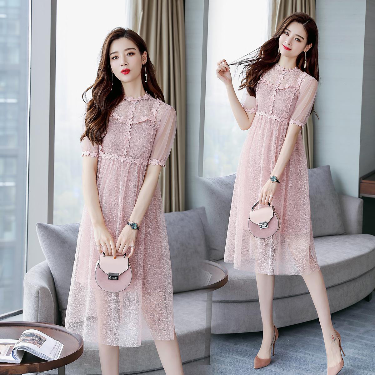 夏季短袖中长款中腰圆领纯色蕾丝连衣裙X型PHTYX P105