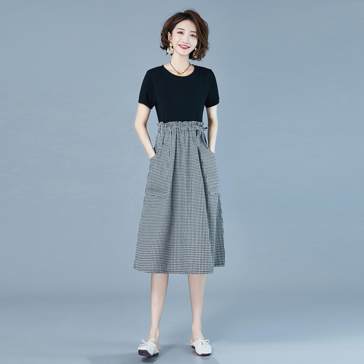 yf9圆领夏季新款宽松休闲舒适简约连衣裙XYCWX P110