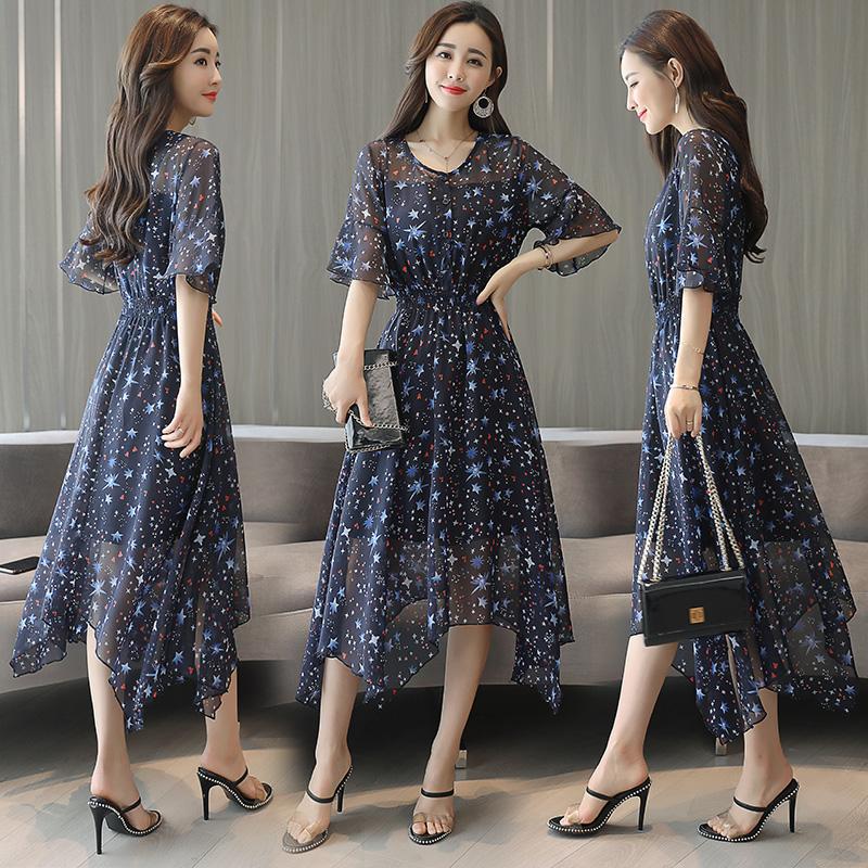 长裙五分袖套头中腰圆领连衣裙气质街头韩版ABCCW P85
