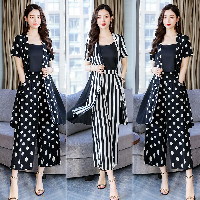 裙2019夏季时尚七分袖波点V领三件套RFYXZX P170