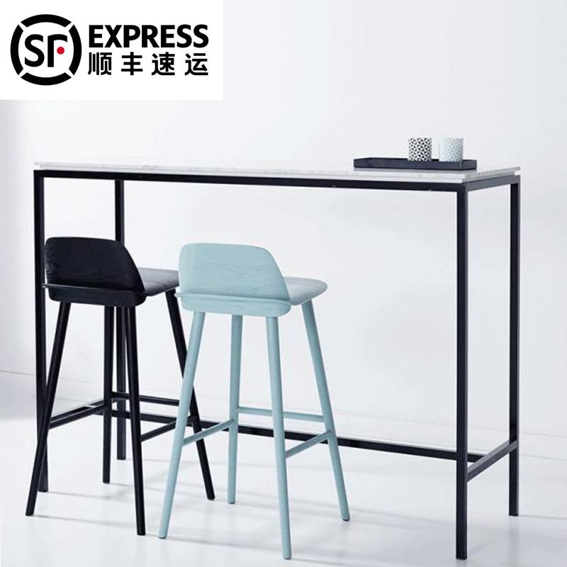 北欧铁艺大理石家用吧台桌奶茶店桌酒吧桌现代简约靠墙长条高脚桌