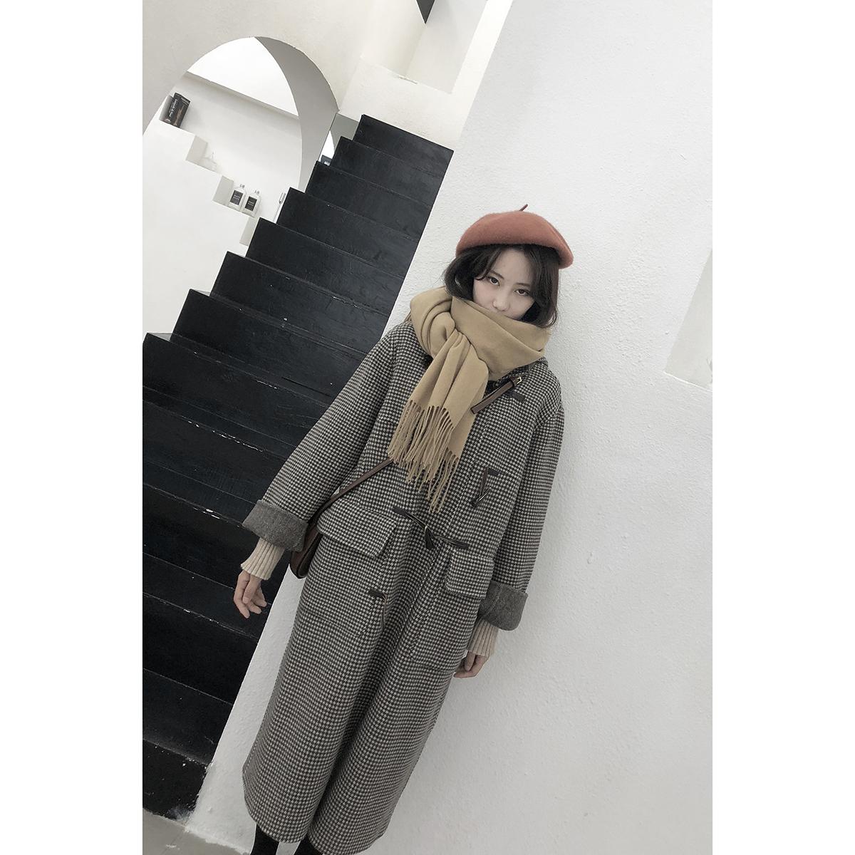 双面羊绒大衣女中长款2018新款日系韩国学生牛角扣毛呢外套小个子