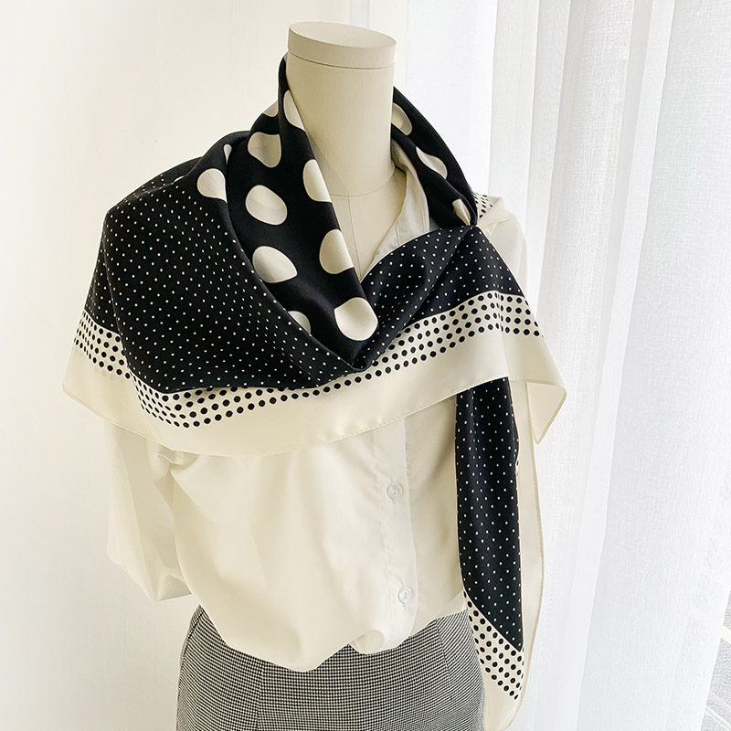 Hepburn style large and small dots perforated large square scarf autumn versatile decoration shawl multi-functional matching scarf lady