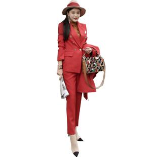 新品西裝女氣質英倫風小西服時尚帥氣紅白黑職業修身顯瘦兩件套裝