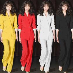西装套装时尚新款韩版职业女装修身显瘦小香外套西服长裤两件套潮