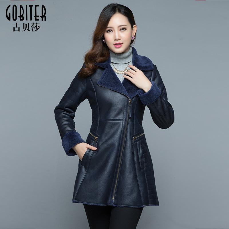 古贝莎高端品牌2020冬季新品西装领女士皮草外套加厚奢华羊绒大衣