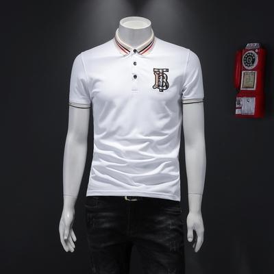 2020新款夏季刺绣绣丝光棉潮流修身短袖PLS 货号5014 P70 白色