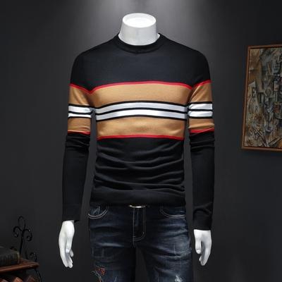 男士长袖羊毛衫 新款条纹针织羊毛衫打底 货号19130 P95