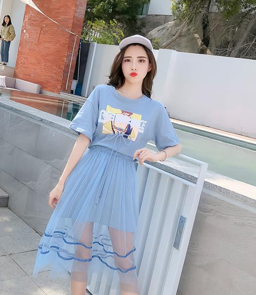 2018夏装新款潮流两件套网纱套裙休闲女装套装淑女气质时尚矮个子