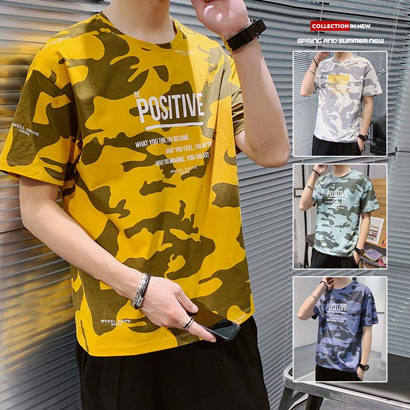 少しのメンズの夏季のファッションの流行の迷彩の半袖Tシャツ韓国版のカジュアルな純綿のTシャツの丸首の薄いタイプのTシャツ