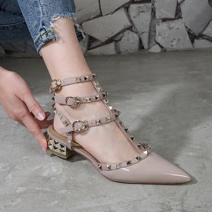 夏季 包脚裸色高跟柳钉孕妇防滑低跟鞋 V家铆钉尖头粗跟凉鞋 新品 女