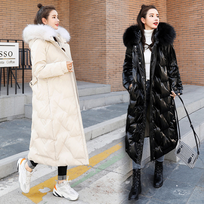 2021 new Korean down cotton padded jacket womens winter bright leather thickened to ankle medium long knee length cotton padded jacket