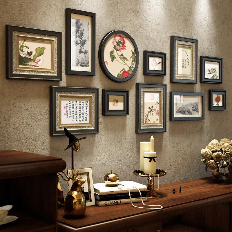 新しい中国式の写真壁の禅の意味の木の額縁の壁は中国風の客間のソファーの背景壁を組み合わせて玄関を飾ります。