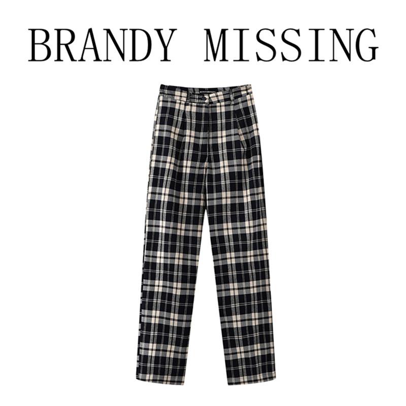 BrandyMelville同款bm女装复古格纹高腰裤夏季新款休闲直筒长裤