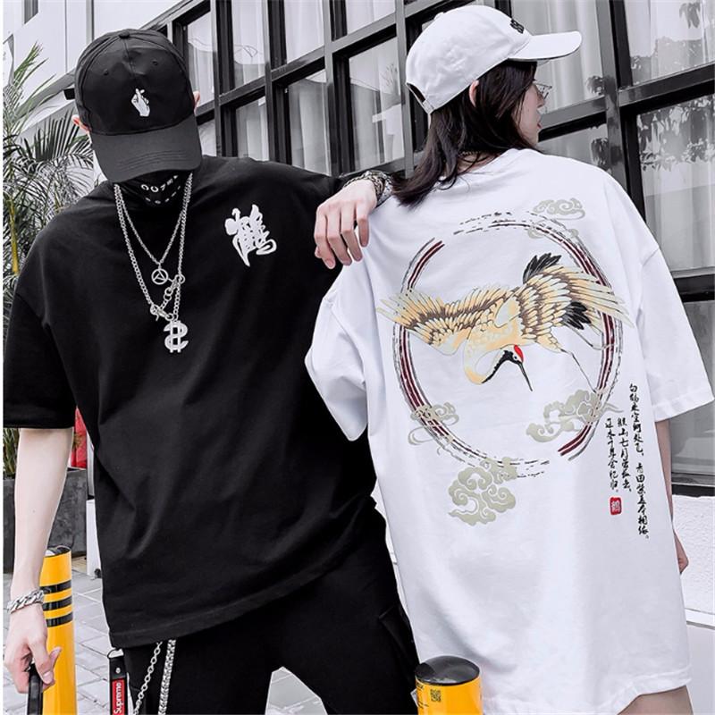 ins潮牌中国风仙鹤印花短袖bf t恤29.00元包邮