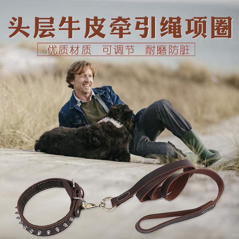 狗狗牛皮带刺项圈宠物牛皮牵引绳防拉断金毛拉布拉多大狗脖牵引带